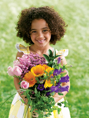 Child with bouquet